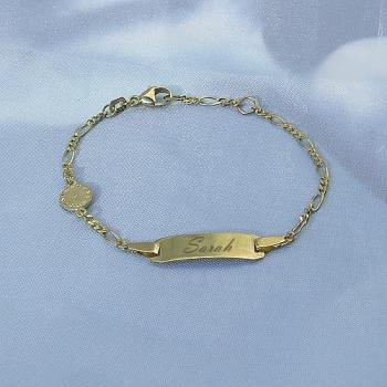 Baby-Armband Gold Figaro Geburtsuhr / Taufuhr • 14,5/13 cm • 333/-Gold • inkl. Gravur