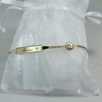 Gravur-Armband Gold Baby Schutzengel Herz  • 14/12 od. 16/14 cm • 333/-Gold