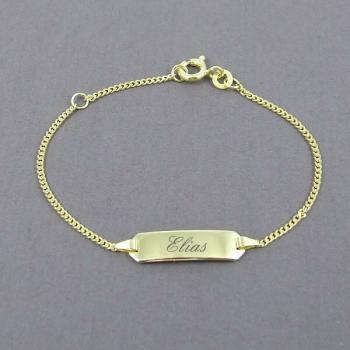 Baby-Armband Gold Panzer • 14/12 cm • 333/-Gold oder 585/-Gold • inkl. Namens-Gravur