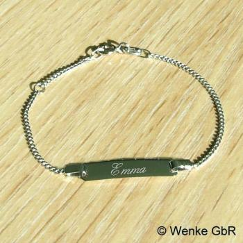 Baby-Armband Weißgold Panzer • 14/12 cm • 336/-Weißgold • inkl. Gravur